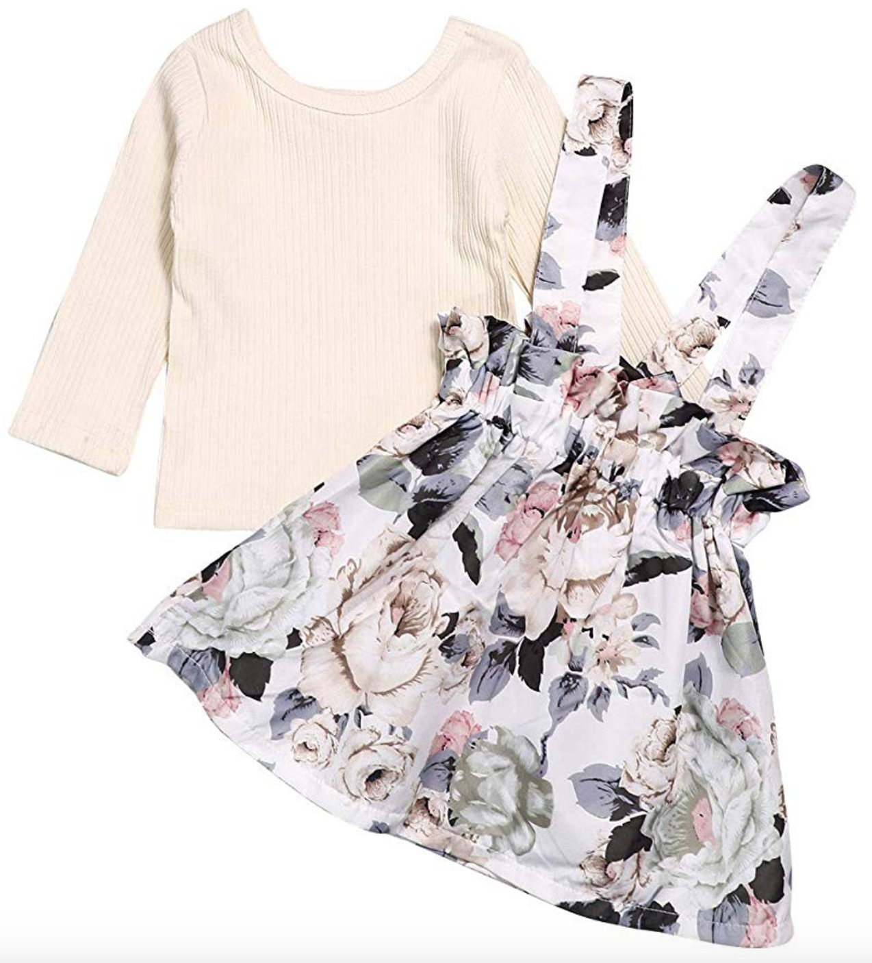 Skirt Outfit Set Long Sleeve Ruffle Romper Top + Floral Strap Skirt Tutu Dress