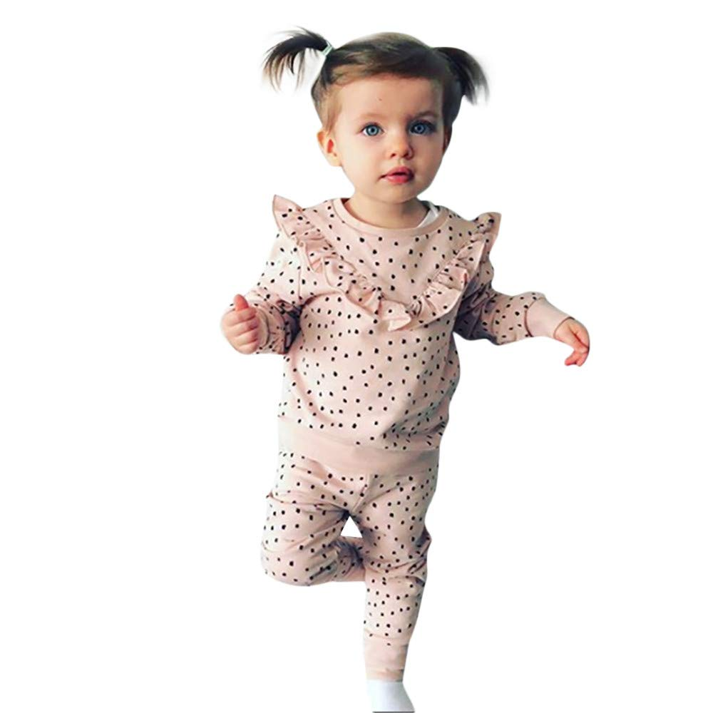 Toddler Kids Baby Girl Polka Dot Ruffled T Shirt Tops Pants Clothes Outfits Set