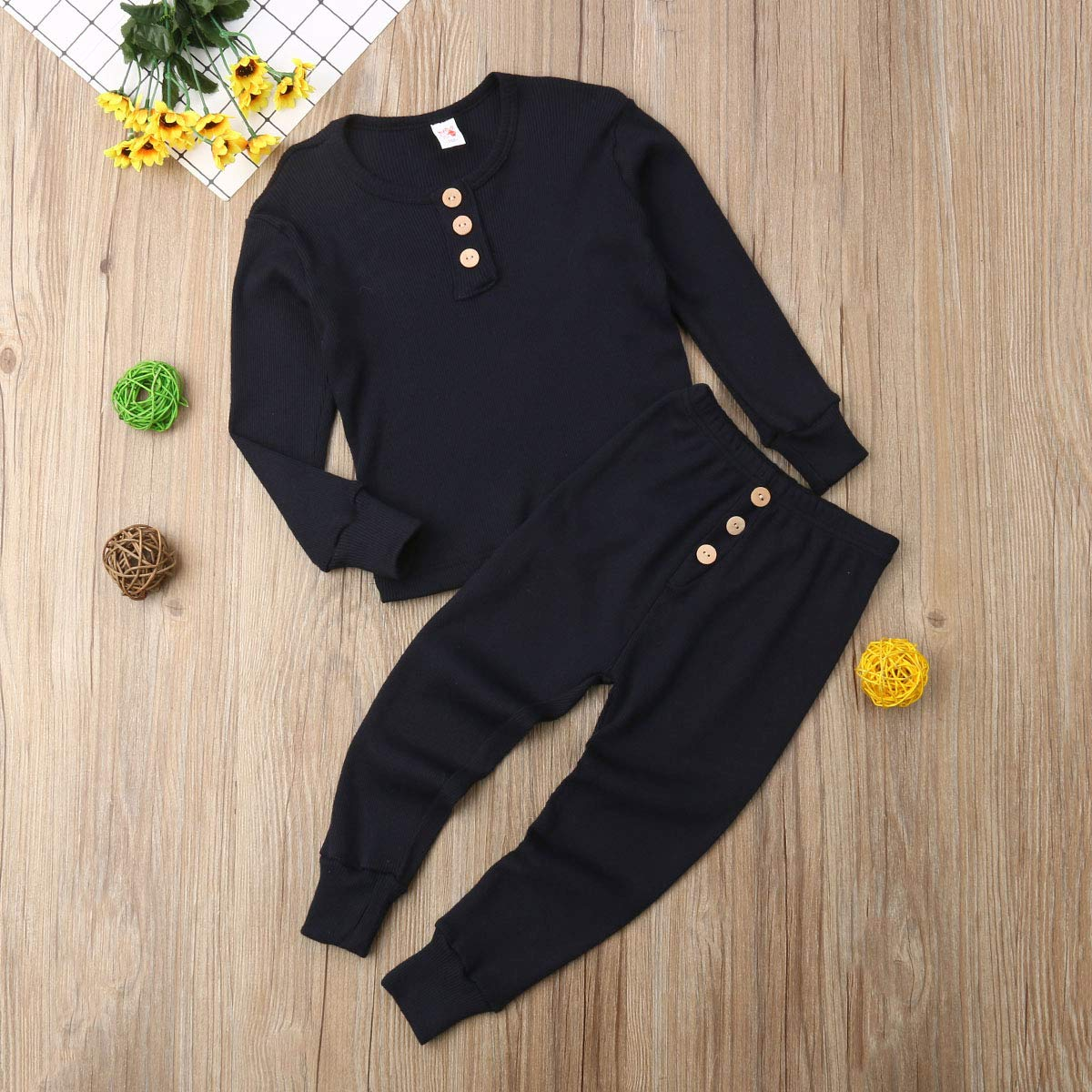 Two Piece Pajama Set Button Long Sleeve Cotton Top and Pants