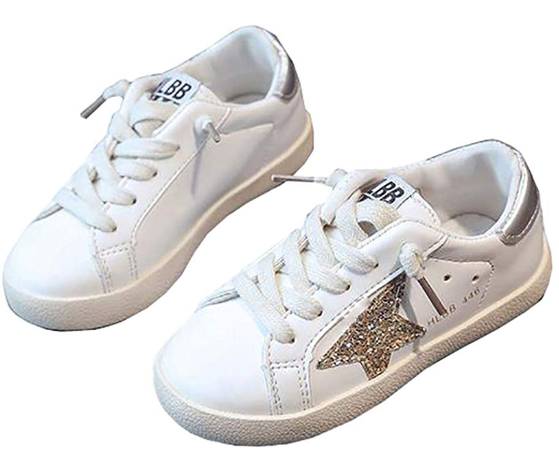 XinYiQu Spring Kids Sparkle Star Sneakers Casual Shoes for Girls Boys - Golden Goose Look-A-Like Sneakers