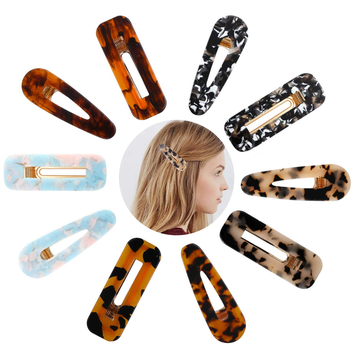 Acrylic Resin Alligator Marble and Tortoise Hair Barrettes for Women and Girls, 10 pcs