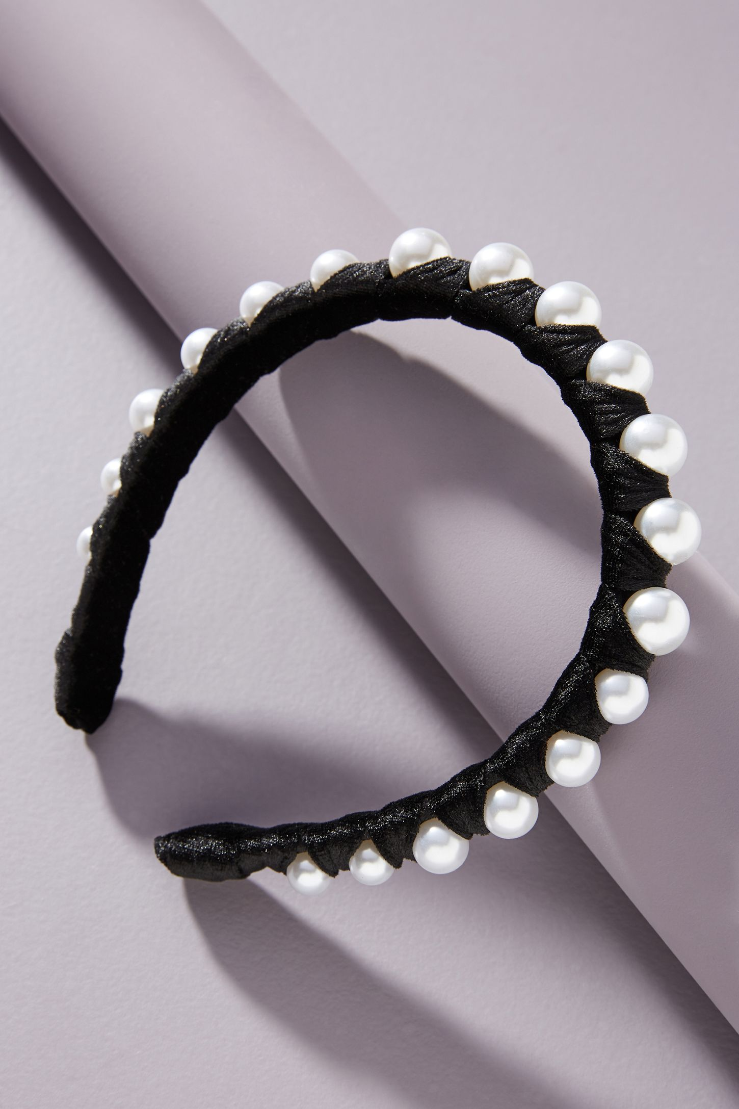 Anthropologie Abbie Velvet Pearl Headband