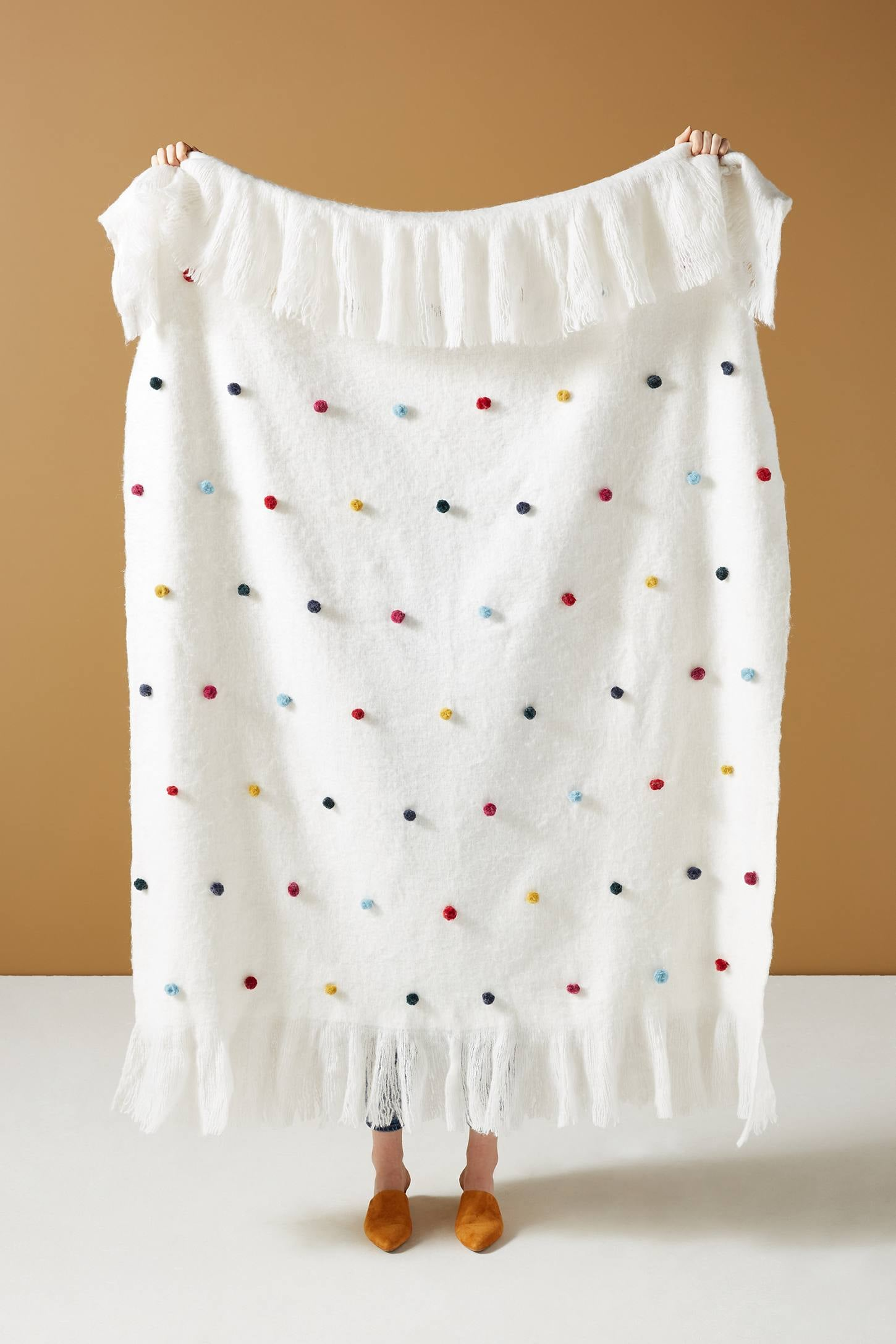 Anthropologie Hilda Pom Throw Blanket