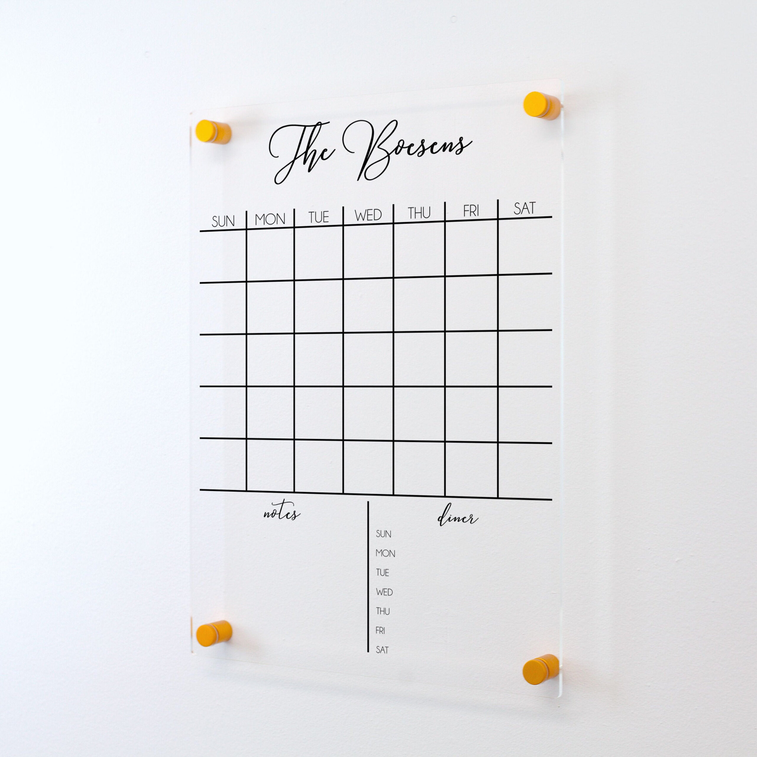 Dry Erase Acrylic Calendar | Personalized Family Name | Housewarming Gift | Clear Floating Wall Calendar | Home Decor | Office Sign