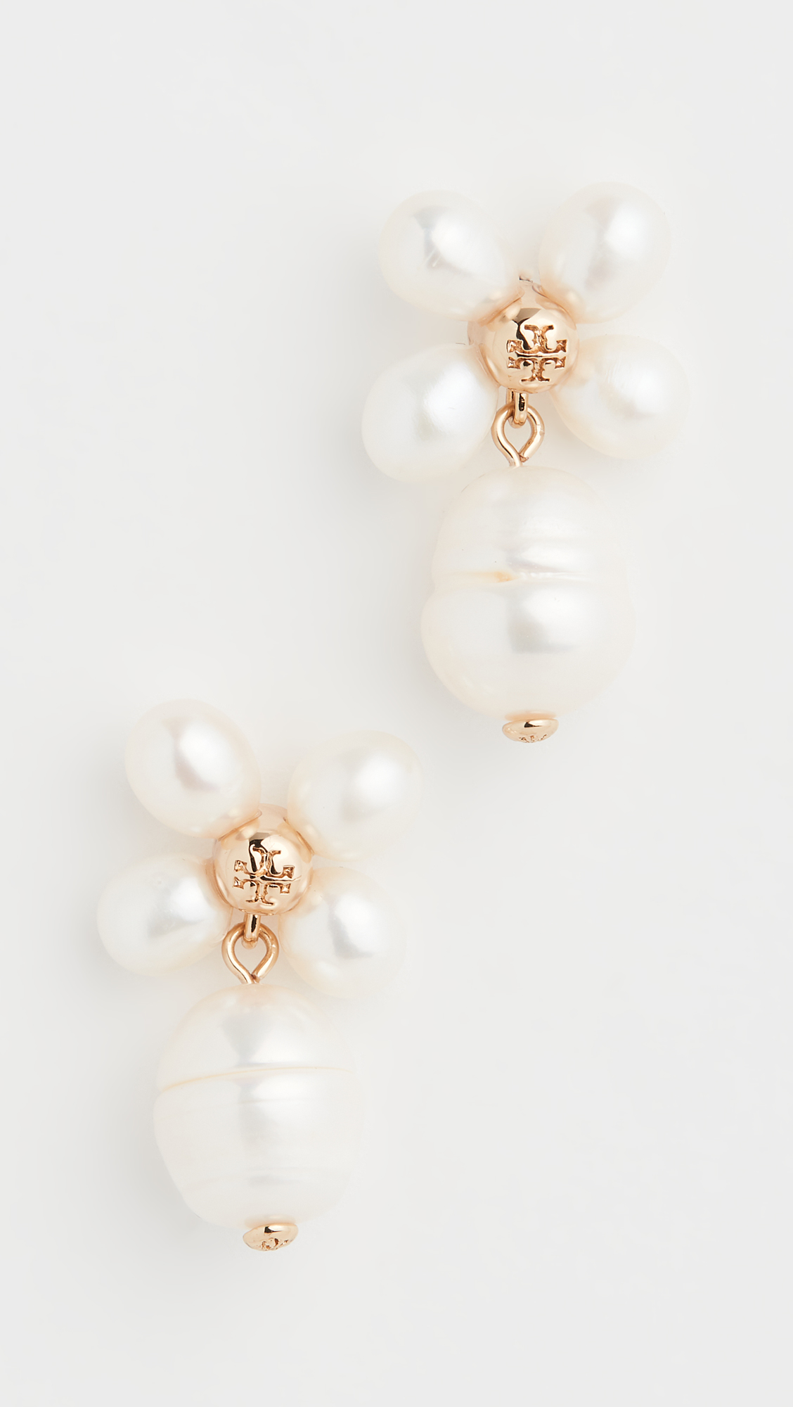 Tory Burch Buddy Clover Pearl Drop Earrings
