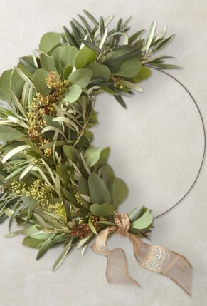 Williams Sonoma Eucalyptus and Olive Half Wreath
