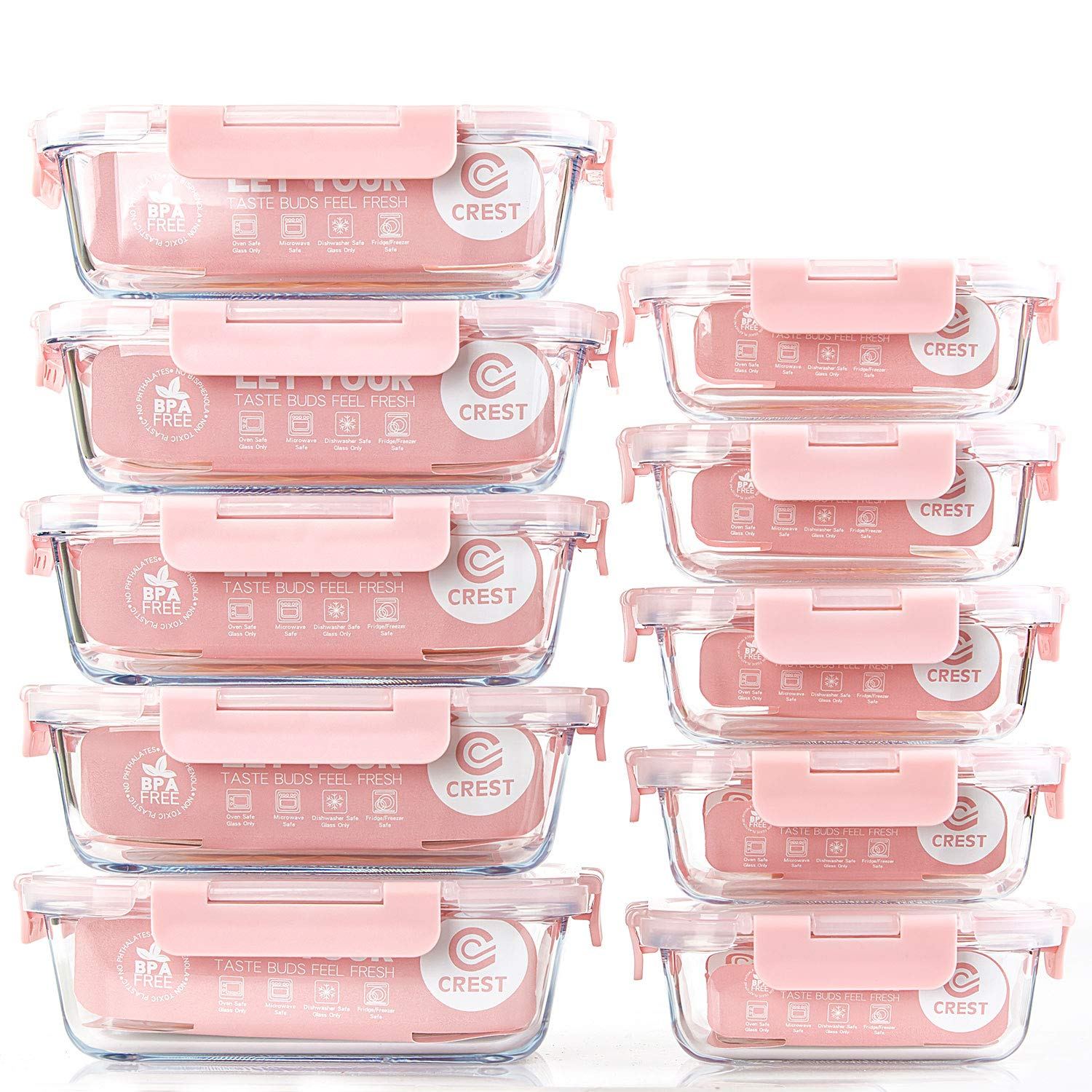[10 Pack] Glass Meal Prep Containers, Food Storage Containers with Lids Airtight