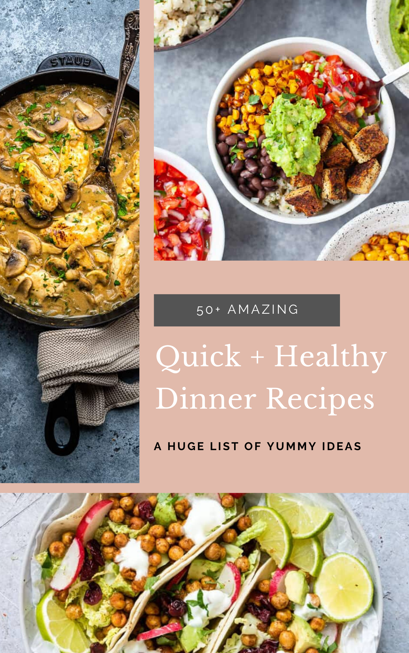 Need quick and healthy dinner recipes for busy weeknights? This recipe roundup has got you covered with more than 50+ easy and healthier dinner ideas! Click through for the recipes. | glitterinc.com | @glitterinc