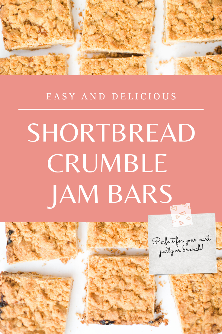 These shortbread crumble jam bars have a delicious shortbread base, a layer of fruity jam, and a buttery, crunchy crumble topping. Perfect for your next brunch or party! Click through for the recipe. | glitterinc.com | @glitterinc