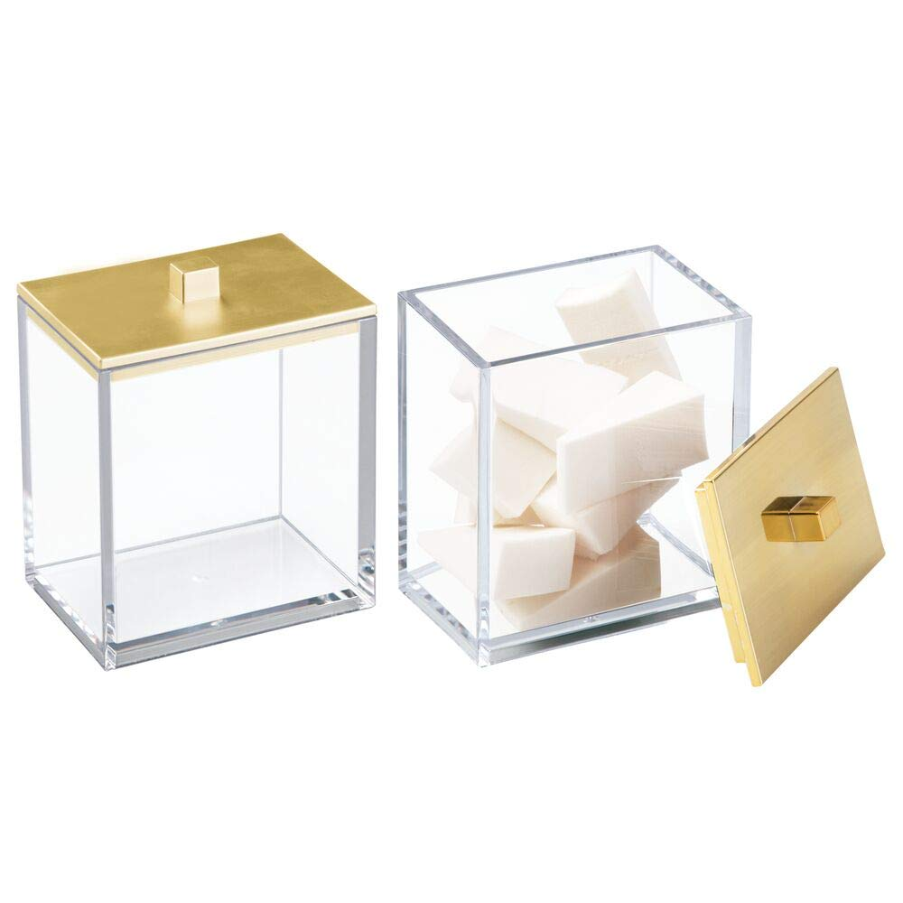 Modern Square Bathroom Vanity Countertop Storage Organizer Canister Jars