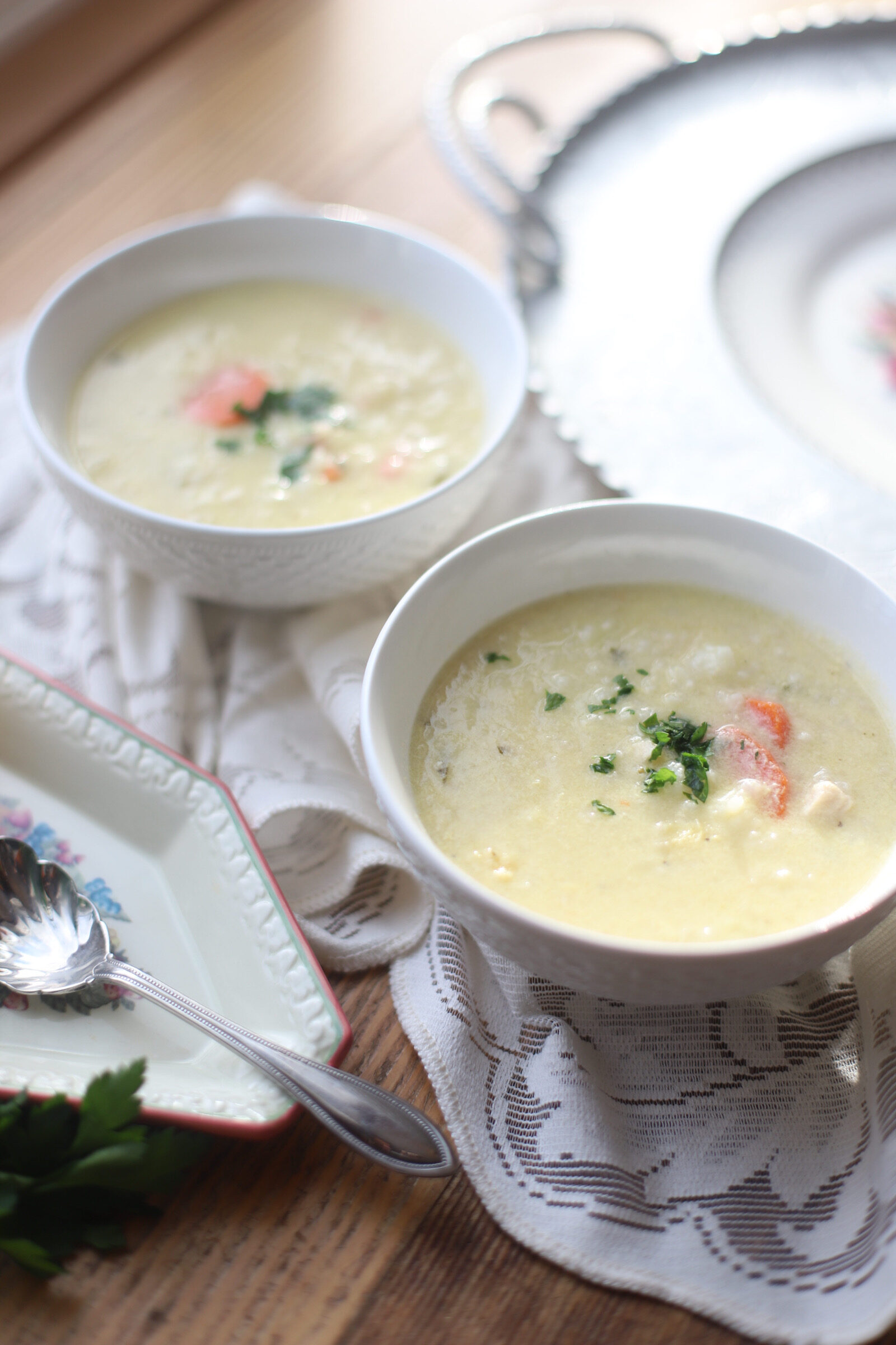My Mom's Greek Lemon Chicken Soup - Avgolémono Soup