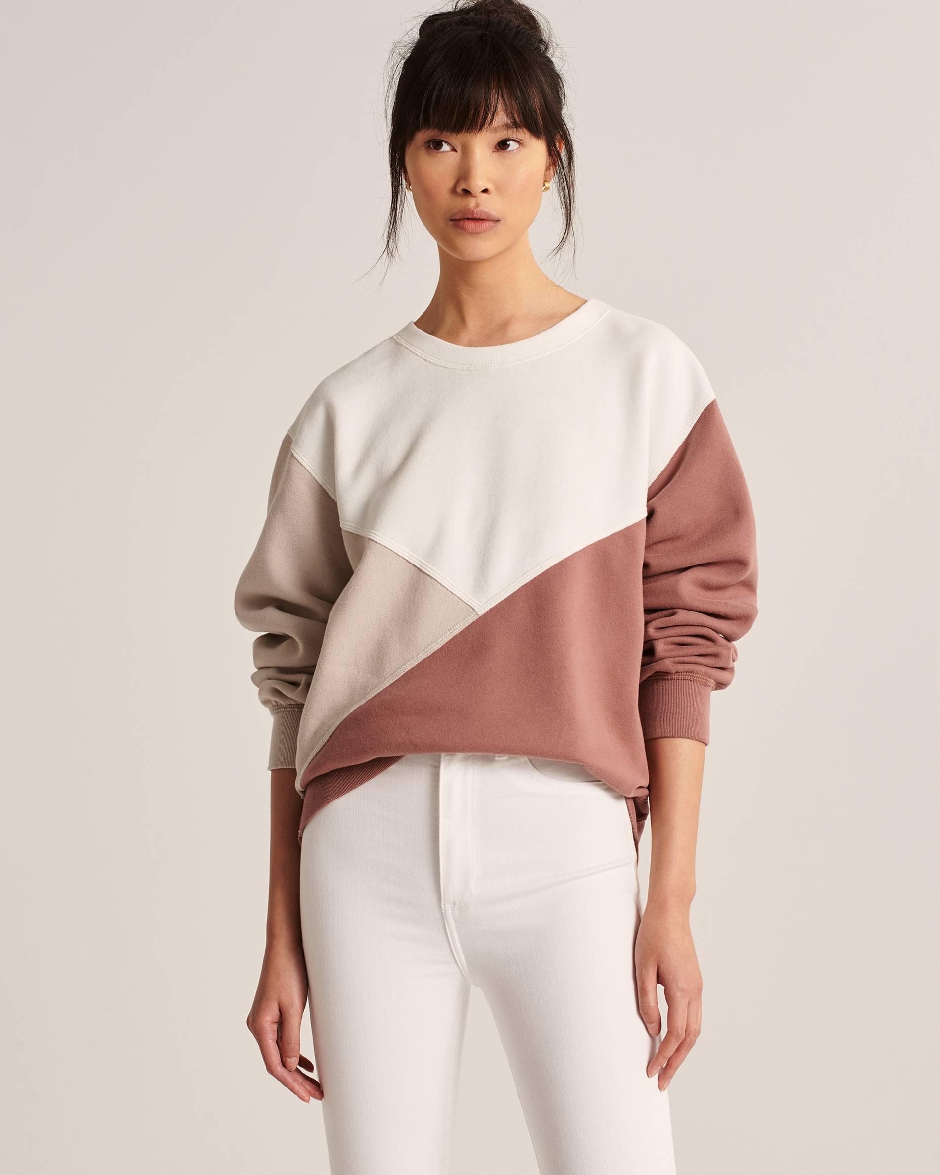 abercrombie Colorblock Crewneck Sweatshirt