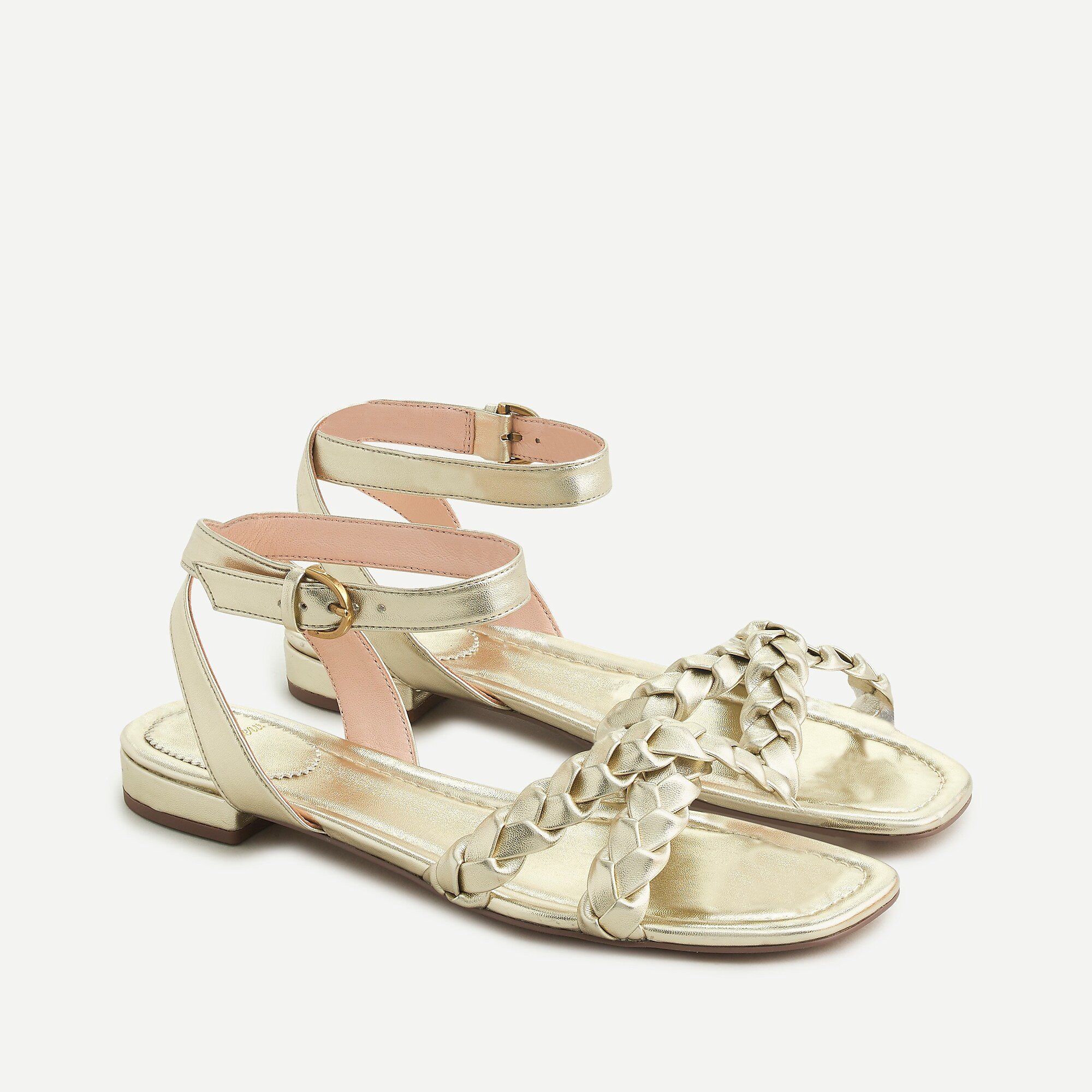 Abbie Braided Cross-Strap Sandals in Metallic Leather
