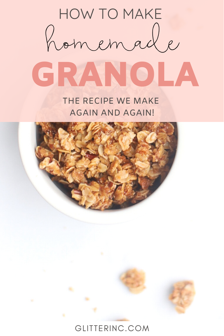 Bake up a batch of these decadently fluffy and moist bakery-style Strawberry Yogurt Granola Crumble Muffins, made with rich Greek yogurt, full of fresh strawberry flavor, and topped with our favorite homemade classic granola crumble. Click through for the recipe. | glitterinc.com | @glitterinc