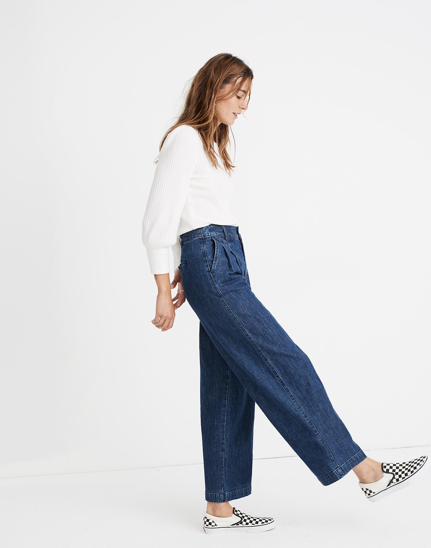 Madewell Pleated Wide-Leg Jeans in Seabrook Wash