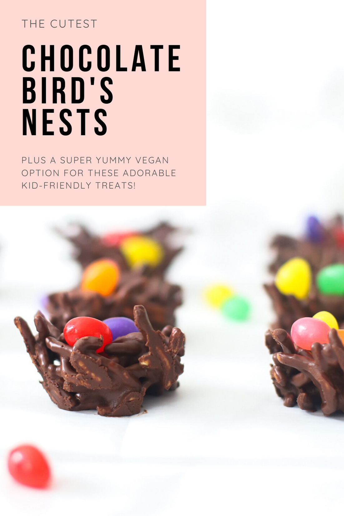 Celebrate Easter and the spring season with these adorable no-bake chocolate birds nests. The recipe is super simple to make, totally kid-friendly, and with a few easy tweaks, your chocolate bird's nest can be made totally vegan! | glitterinc.com | @glitterinc