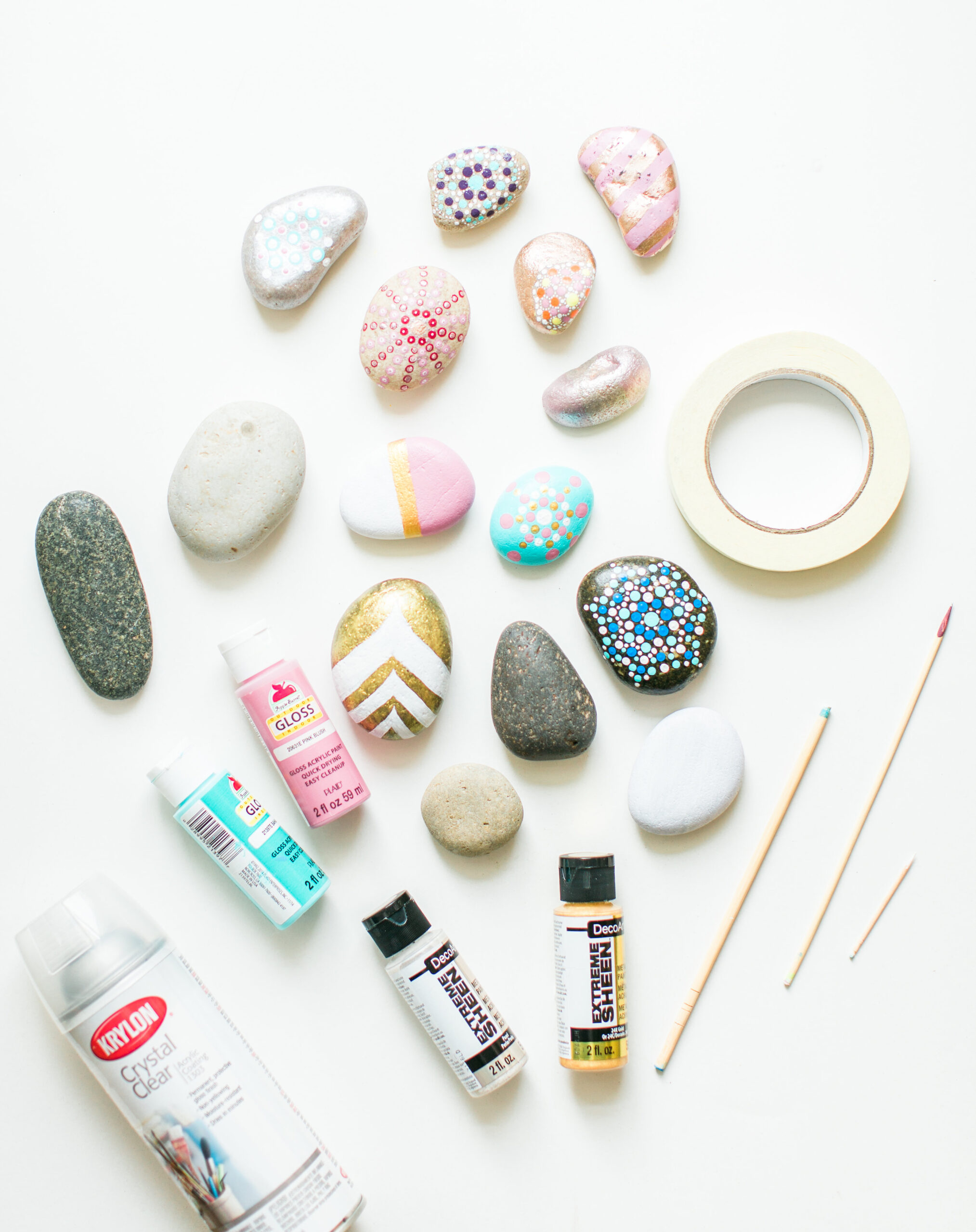Home with your young kids? Here is a huge list of fun and educational activities to do at home with young kids, including exactly how to entertain your children during school closures, cold and flu days, Spring and Summer vacation breaks, and more. | glitterinc.com | @glitterinc // DIY Painted Rocks