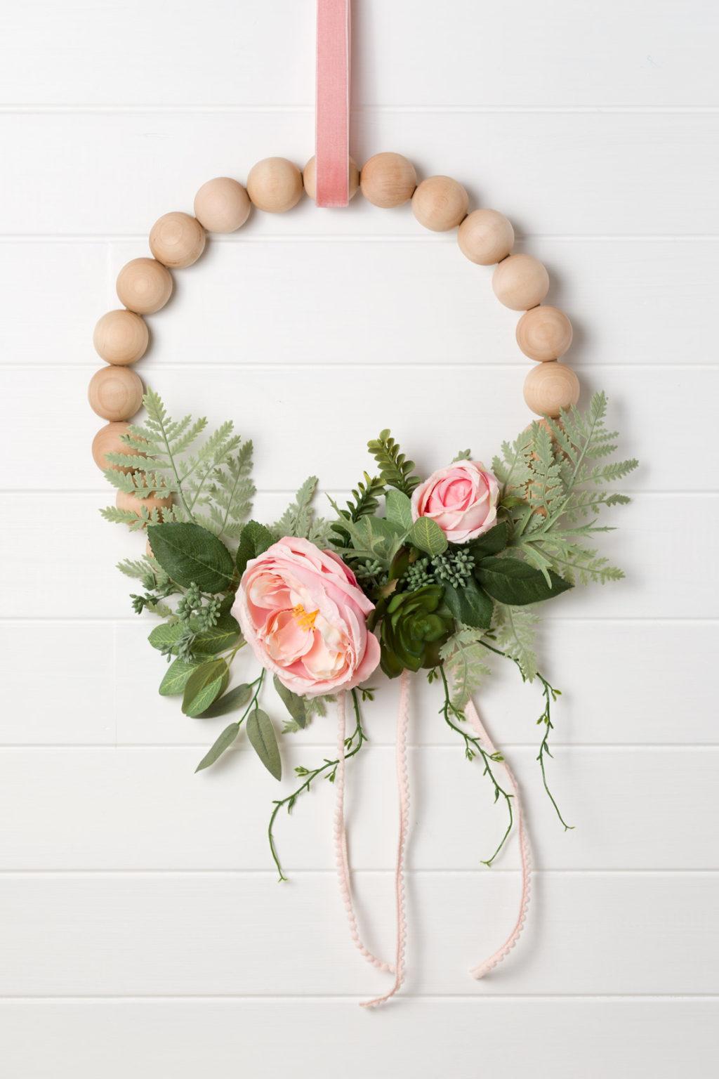DIY Peony Wreath with Wood Beads