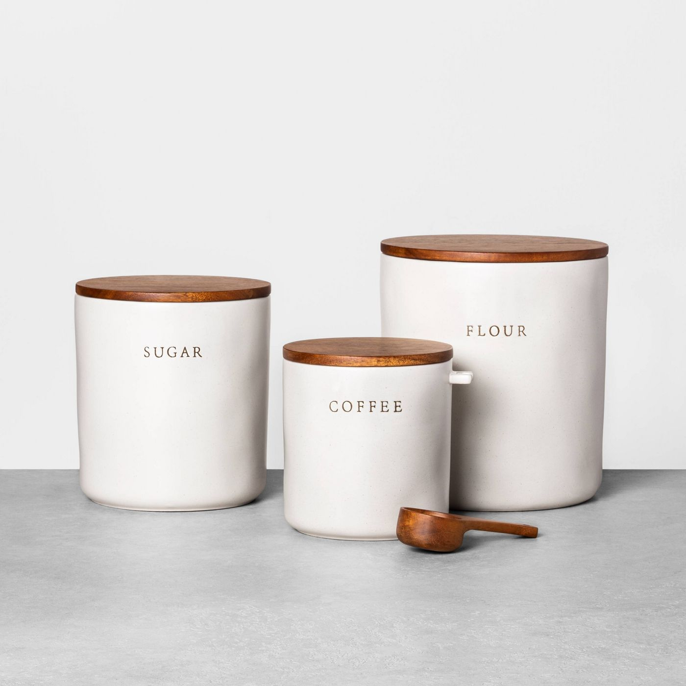 Hearth & Hand with Magnolia Sugar Stoneware Canister with Wood Lid