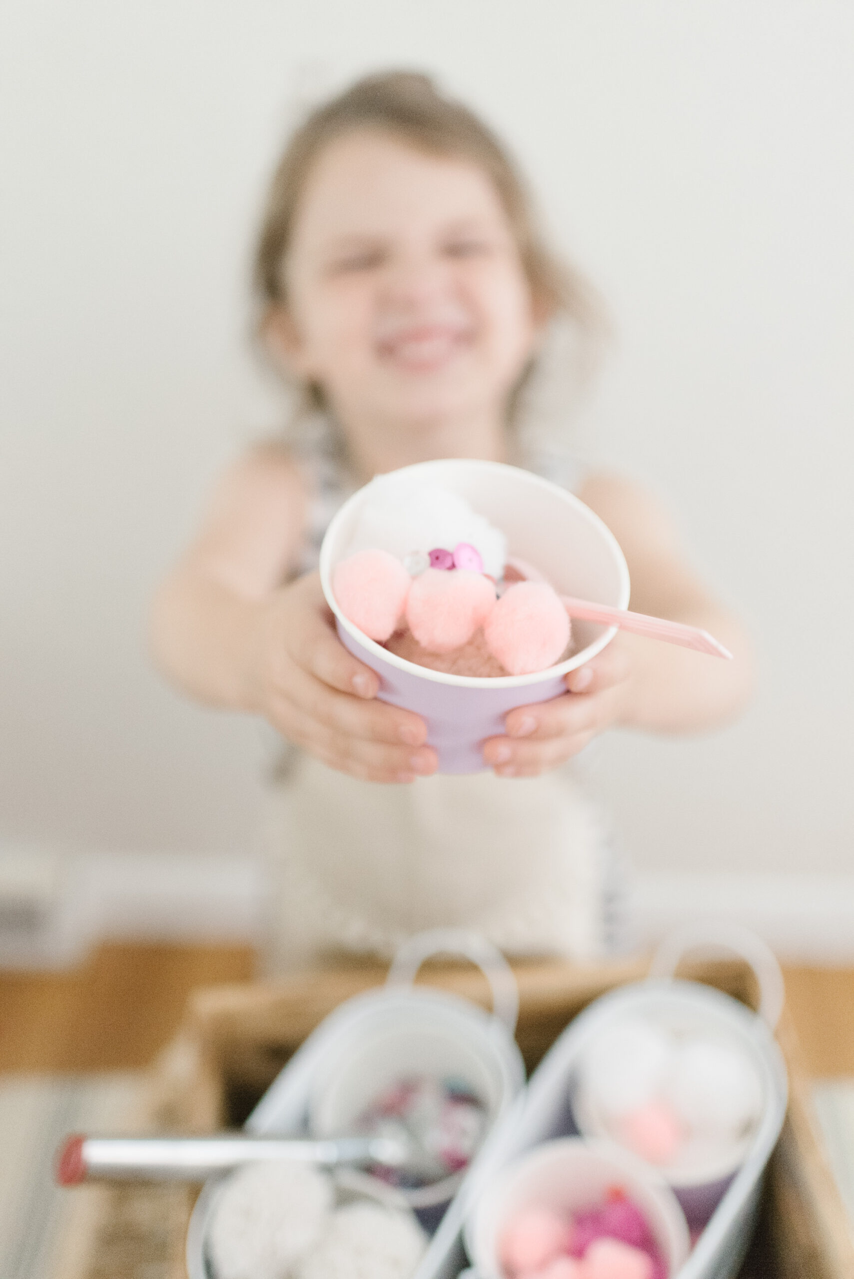 Home with your young kids? Here is a huge list of fun and educational activities to do at home with young kids, including exactly how to entertain your children during school closures, cold and flu days, Spring and Summer vacation breaks, and more. | glitterinc.com | @glitterinc // Ice Cream Shop Sensory Play