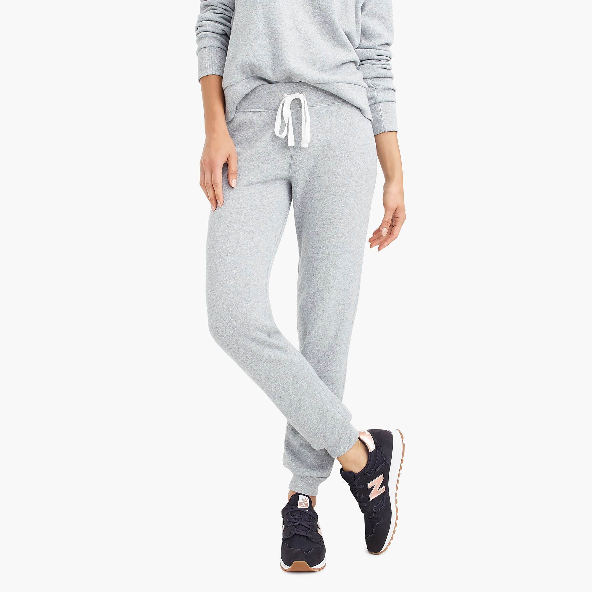 Slip into one of these adorably chic and on trend Loungewear Sets and Matching Sweatsuits, look cute as could be from the comfort of your sofa, and and stay on budget. These adorable and under $50 cozy and chic sets will get you through the season in total comfort! | glitterinc.com | @glitterinc // J.Crew Supersoft Fleece Sweatpant + J.Crew Pocket Sweatshirt