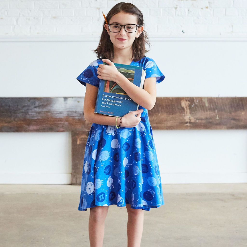 "If you have a little girl who loves a great twirly dress, this post is for you! Sharing where to find the very best twirly dresses; a.k.a., skater dresses, for kids. | glitterinc.com | @glitterinc // Princess Awesome ""Blueberry Pi"" Math Dots Short Sleeve Super Twirler Dress"
