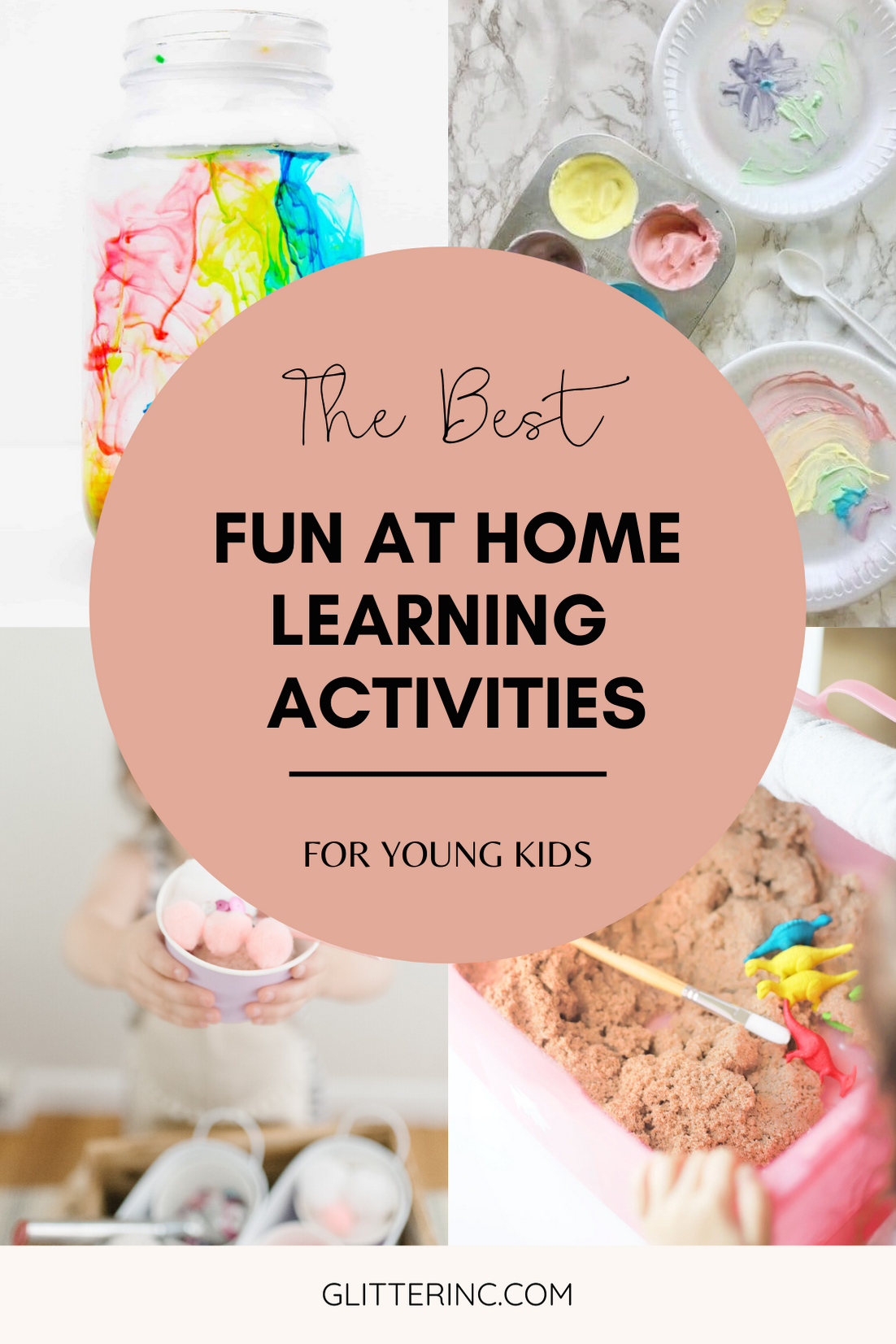Home with your young kids? Here is a huge list of fun and educational activities to do at home with young kids, including exactly how to entertain your children during school closures, cold and flu days, Spring and Summer vacation breaks, and more. | glitterinc.com | @glitterinc