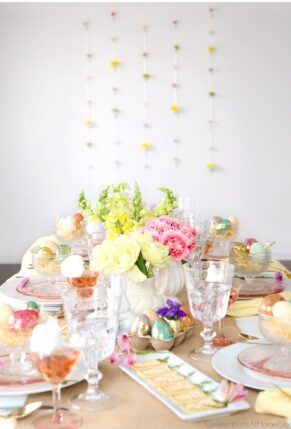 Colorful Pastel Easter Tablescape and Party