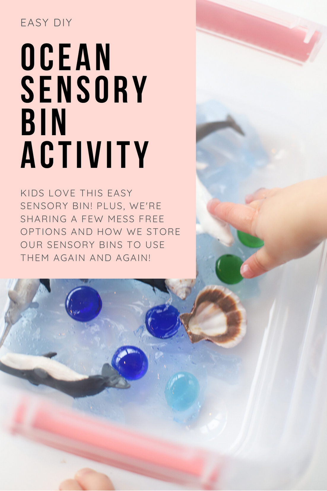 Make your kids an Easy and Fun Kids Ocean Sensory Bin Activity with inexpensive items and watch their imaginations run wild! Plus, a no mess option, and how to store and re-use the DIY ocean sensory bin again and again. This craft is a perfect learning activity for toddlers, preschools, kindergarteners, and beyond! | glitterinc.com | @glitterinc