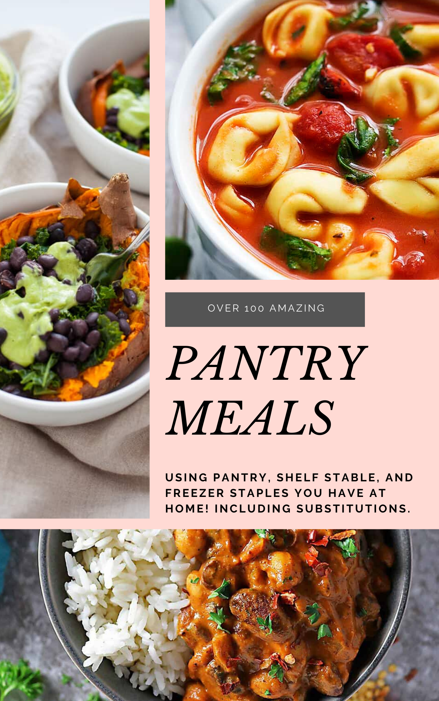These family-friendly meals use pantry ingredients like beans, lentils, canned goods, pasta, rice, and broth, plus or minus staples that keep well in the freezer or refrigerator. These flexible recipes are all about using what you have on hand to make easy, delicious lunches and dinners! | glitterinc.com | @glitterinc