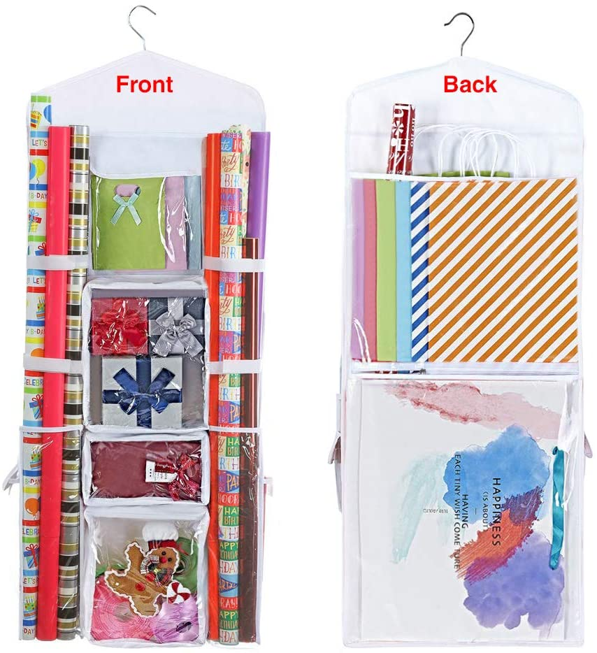 ProPik Hanging Double Sided Wrapping Paper Storage Organizer with Multiple Front and Back Pockets Organize Your Gift Wrap & Gift Bags Bows Ribbons