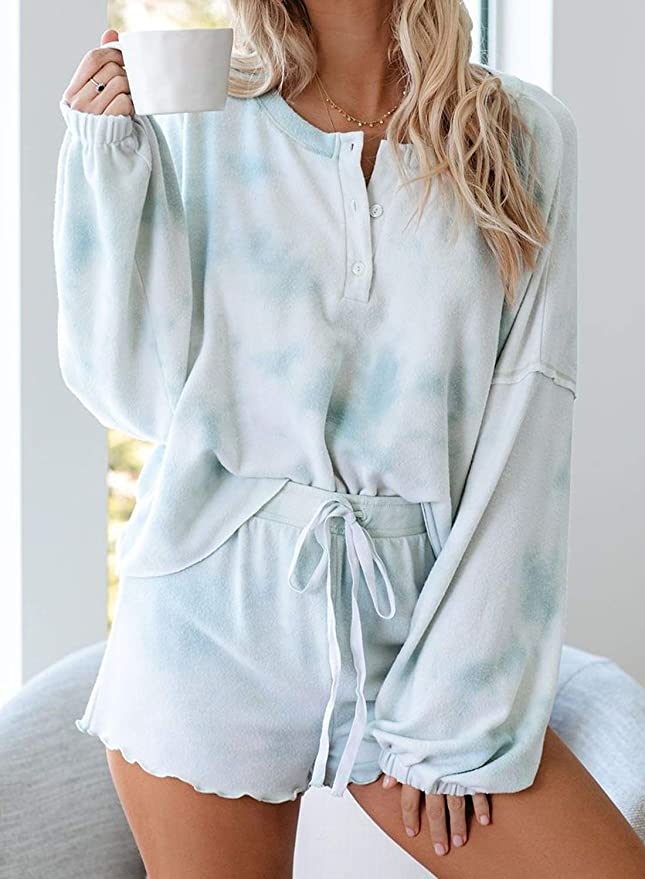 WEEKLY FINDS, Including this Womens Tie Dye Printed Ruffle Short Lounge Sweat Pajamas Set