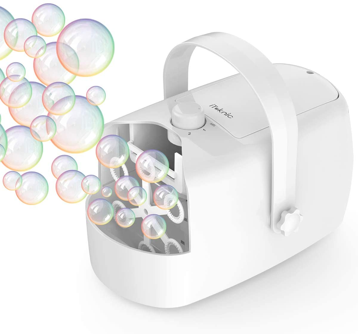 Automatic Bubble Machine on Amazon | iTeknic Bubble Machine, Automatic Bubble Blower, Portable Auto Bubble Maker with High Output for Outdoor/Indoor Use