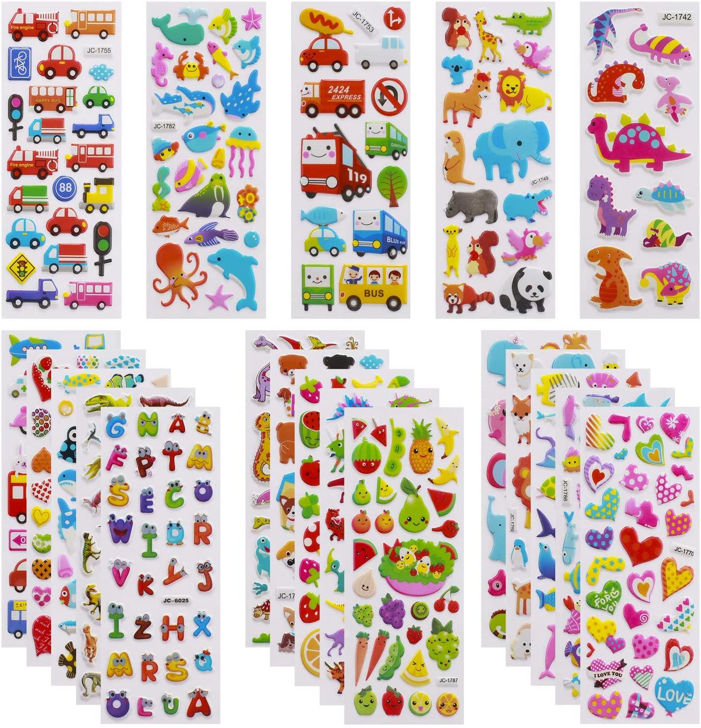 3D Stickers for Kids Toddlers Vivid Puffy Kids Stickers 24 Different Sheets Over 550 Stickers