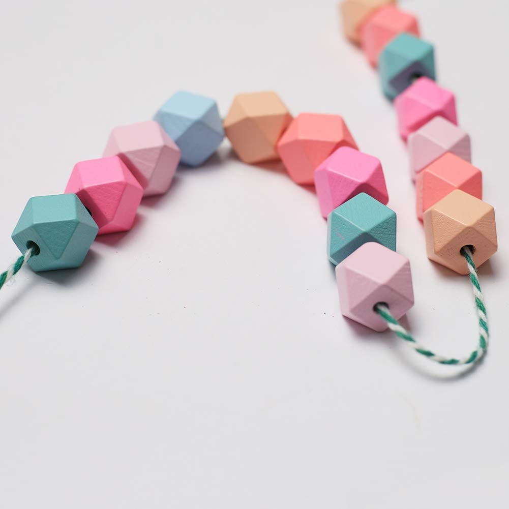 ToBeIT Wooden Beads 70 pcs Geometric Faceted Candy Color Wood Beads Bracelet Garland for DIY Craft Project and Jewelry Handmade Making