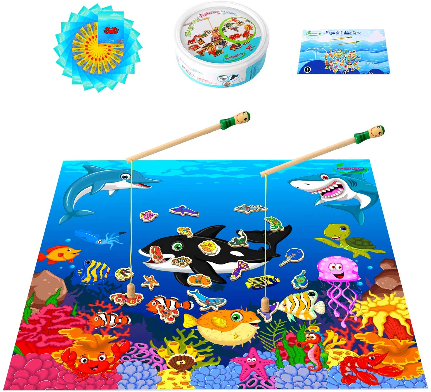MEIGO Magnetic Wooden Fishing Game - Toddler Alphabet Number Preschool Learning Board Games with Play Mat.jpg