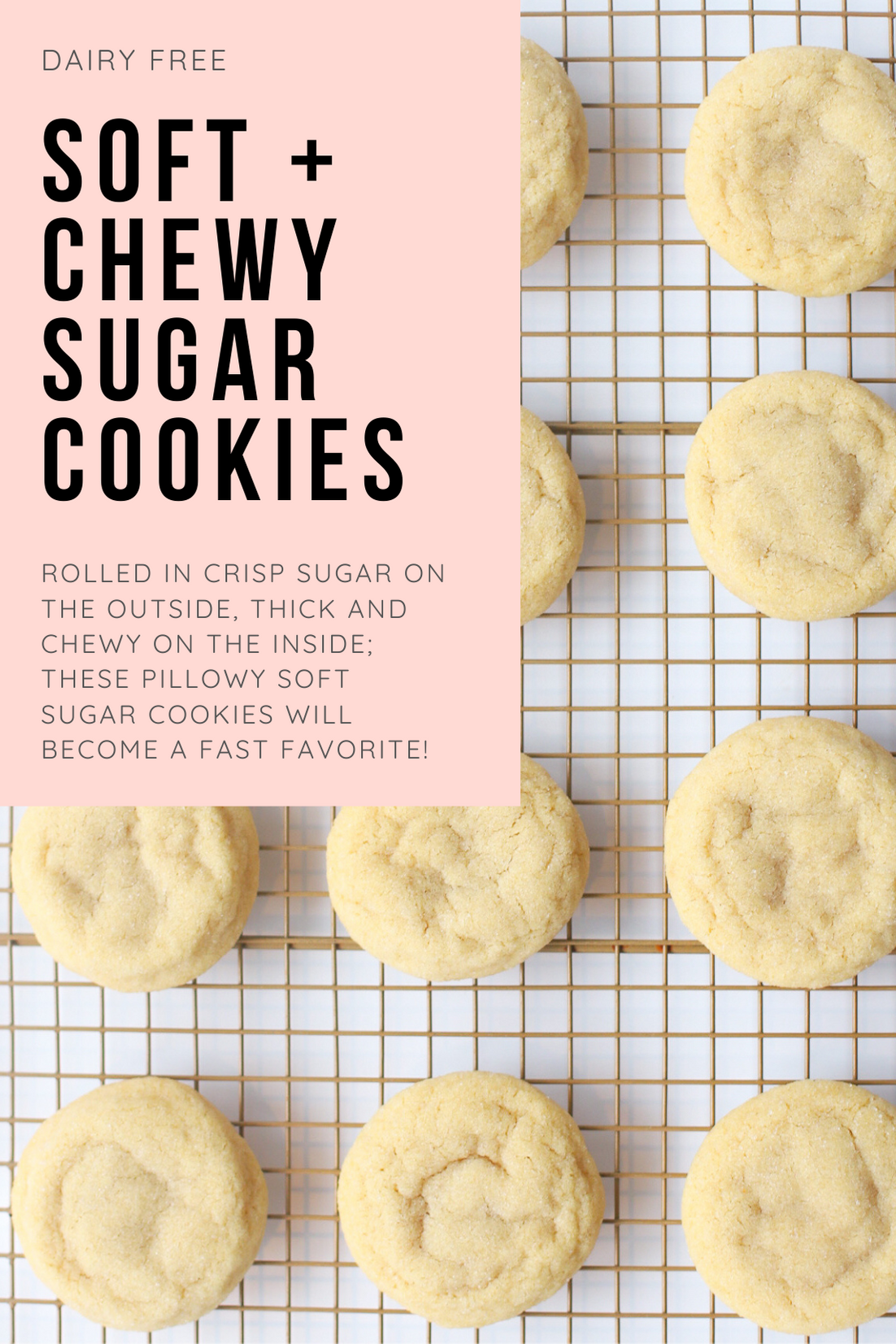 The best and most unbelievably perfect dairy free sugar cookies, rolled in crisp sugar on the outside, soft, thick, and chewy on the inside; these pillowy sugar cookies will quickly become your new favorite sugar cookie recipe! | @glitterinclexi | GLITTERINC.COM