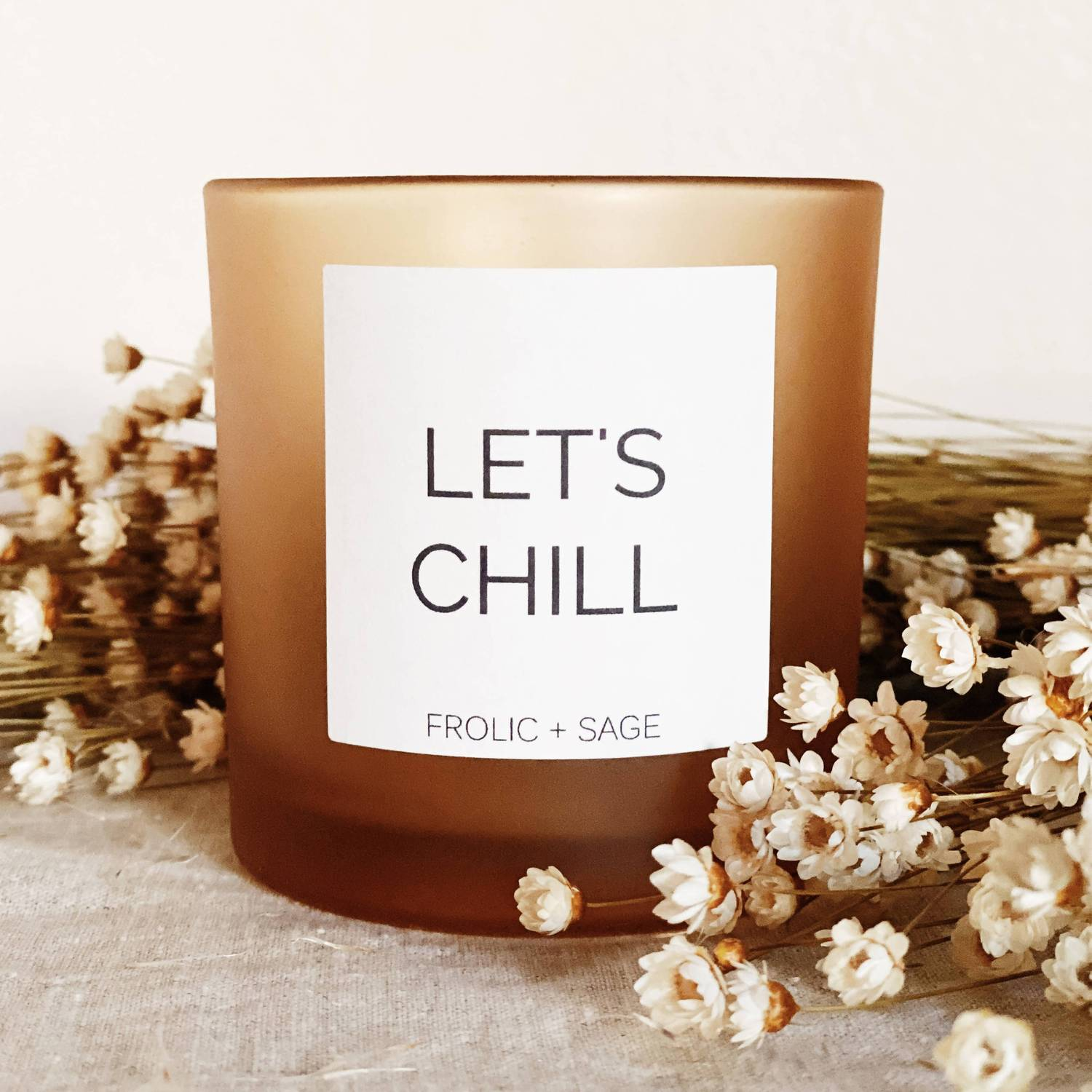 Black-Owned Brands and small shops Frolic + Sage Let's Chill Candle