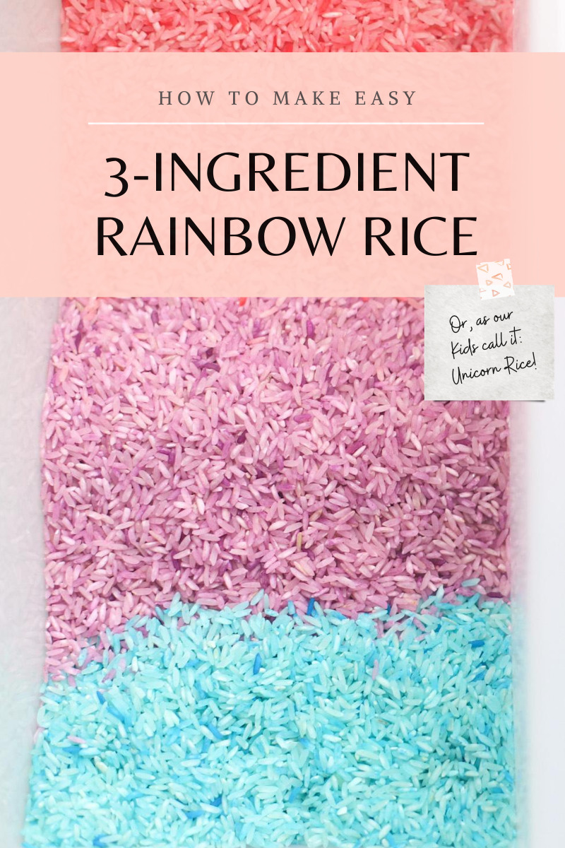Making your own rainbow rice (or in our case, unicorn rice) couldn't be easier! Kids absolutely LOVE playing with this simple dyed rice, and the best part: once you've made a few colorful batches, you can use your colored rice again and again for endless sensory play. // GLITTERINC.COM