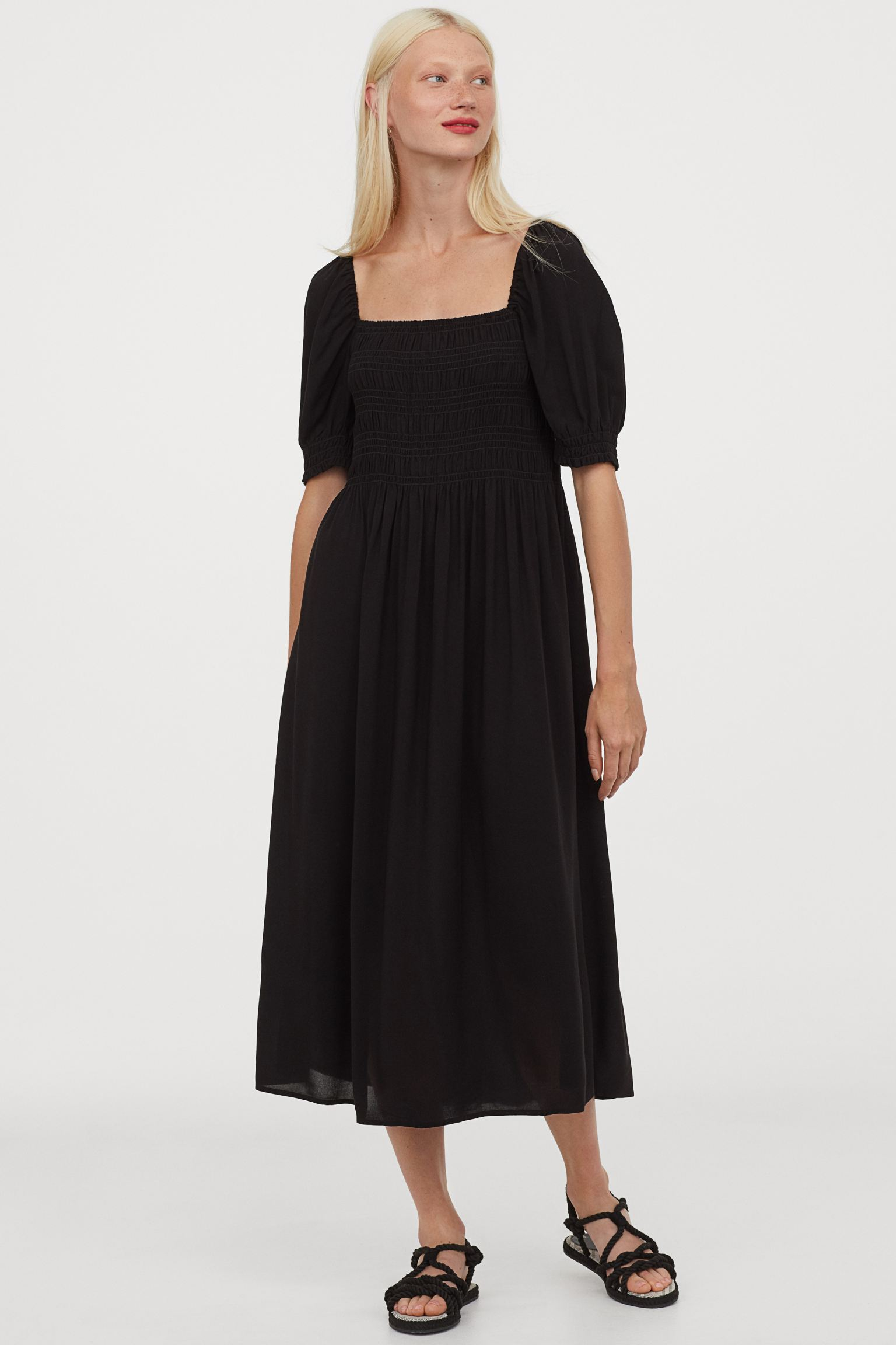 H&M Puff-Sleeved Dress