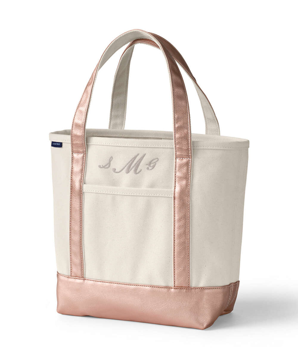 Natural Rose Gold Open Top Canvas Tote Bag