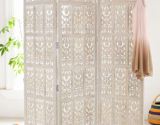 Urban outfitters Amber Carved Wood Room Divider Screen
