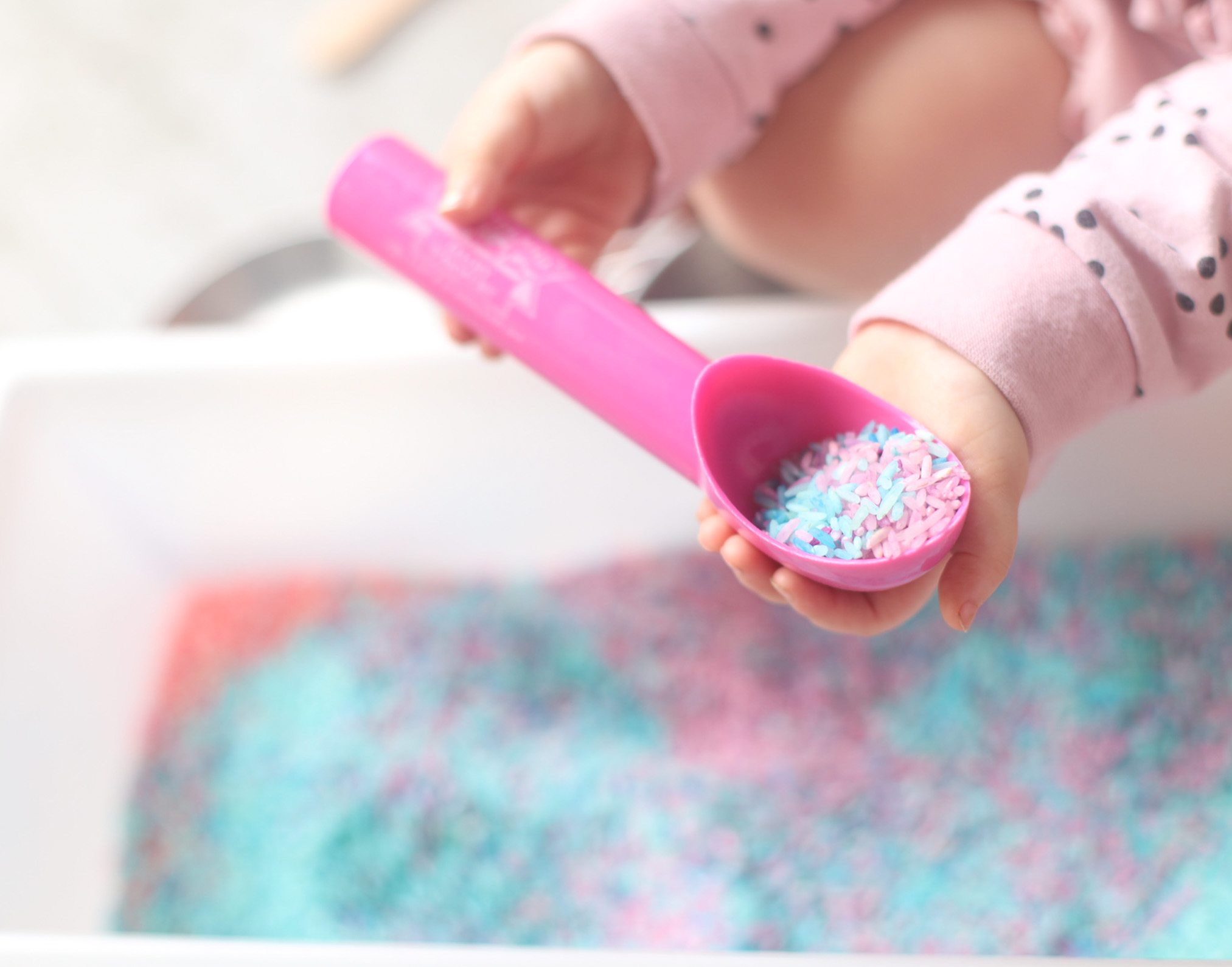 How to Make Rainbow Unicorn Rice - Perfect for a Sensory Bin - Toddler and Kids Activity DIY - GLITTERINC.COM