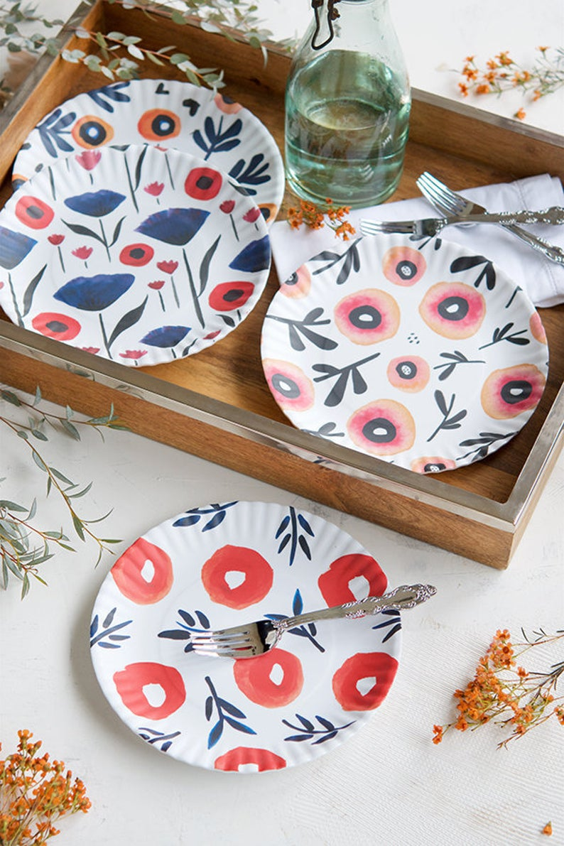 Poppies Melamine Plate Sets by Misha Zadeh