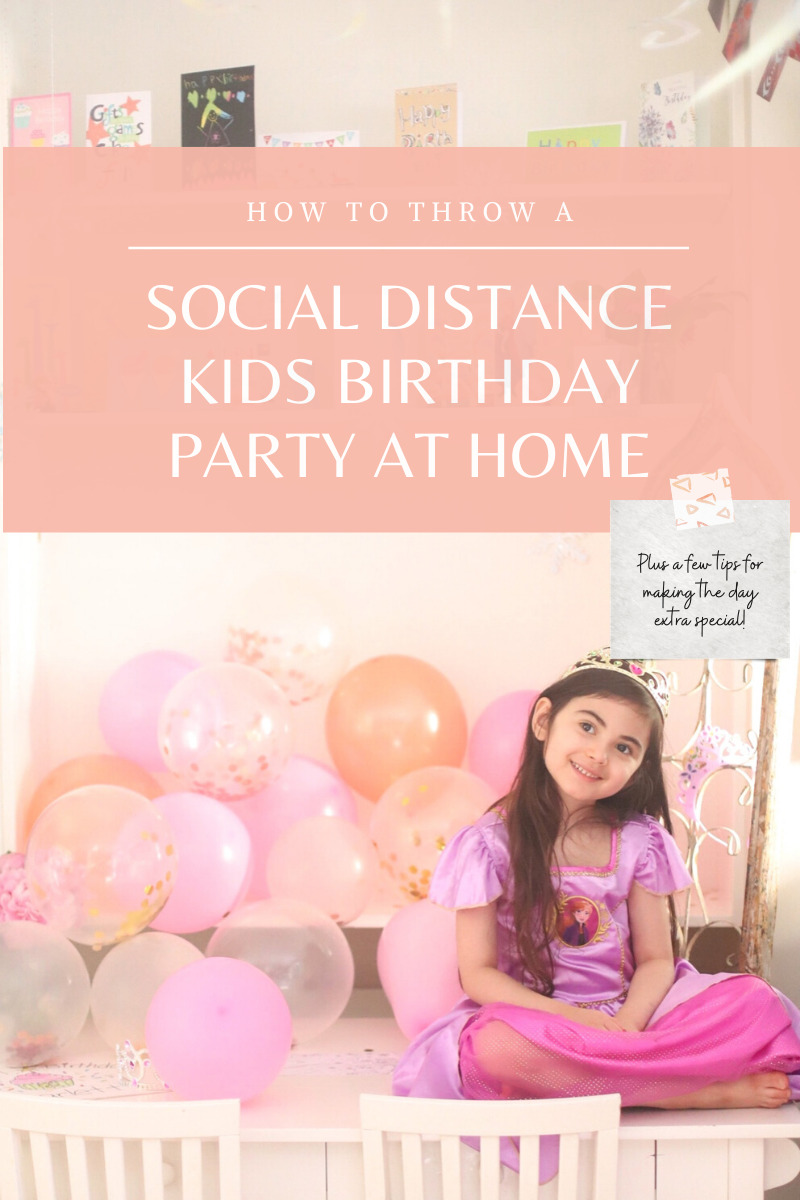 Planning a birthday party for your kids while staying home and social distancing? We threw our 6 year old a social distance Frozen themed birthday party at home and she loved every second of it. Here are a few tips for making your little one's birthday at home extra special! | @glitterinclexi | GLITTERINC.COM
