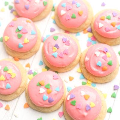 Dairy Free Lofthouse Cookies - Pillowy Soft Frosted Sugar Cookies Recipe | @glitterinclexi | GLITTERINC.COM