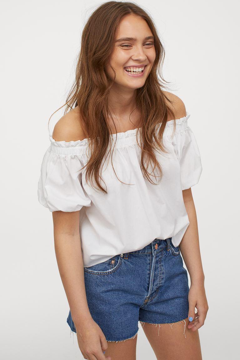 H&M Off-the-shoulder Cotton Blouse