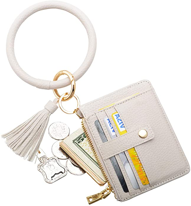 COOLANS Wristlet Bracelet Keychain Pocket Credit Card Holder Leather Purse Tassel Keychain Bangle Key Ring for Women
