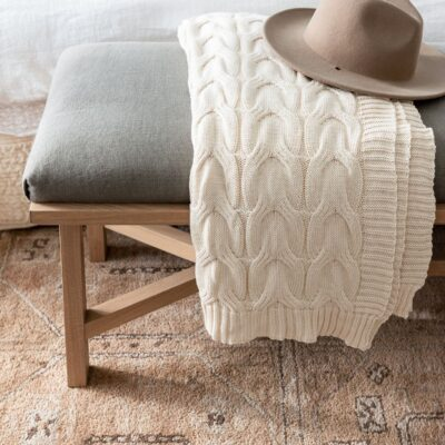 Bench Styling // McGee and Co Ivory Cotton Knit Throw