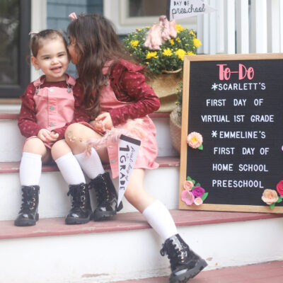 It's back to school for our family! Sharing a look at the girls' first day of school (at home), including the obligatory first day of school front porch photos, and what we are doing for school this fall (remote school, homeschool, and all!) | @glitterinclexi | GLITTERINC.COM